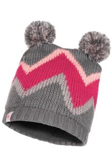 Buff---Knitted-Polar-Hat-Arild-with-pompoms-for-children---Grey/Pink