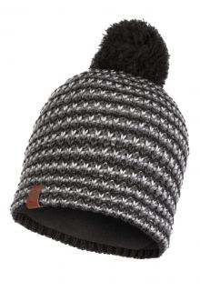 Buff---Knitted-Polar-Hat-Dana-with-pompom-for-adults---Graphite/Multi