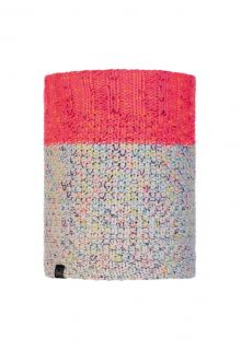 Buff---Knitted-Polar-Tube-scarf-Janna-for-adults---Pink/Multi