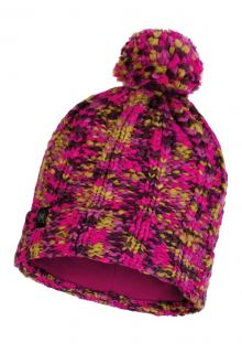 Buff---Knitted-Polar-Hat-Livy-with-pompom-for-adults---Magenta/Multi
