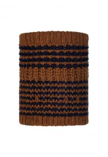 Buff---Knitted-Polar-Tube-scarf-Kostik-for-adults---Brown/Nightblue