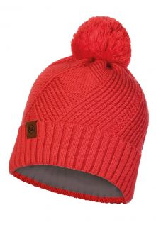 Buff---Knitted-Polar-Hat-Raisa-with-pompom-for-adults---Red