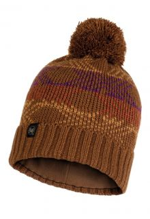 Buff---Knitted-Polar-Hat-Garid-with-pompom-for-adults---Brown/Multi