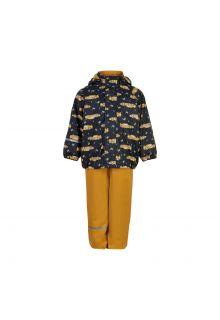 CeLaVi---Rain-set-with-fleece-for-kids---Race-car---Mineral-yellow