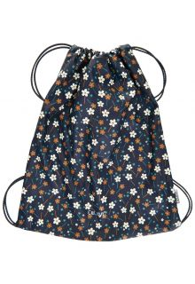 CeLaVi---Water-resistant-drawstring-bag---Flowers---Dark-blue-