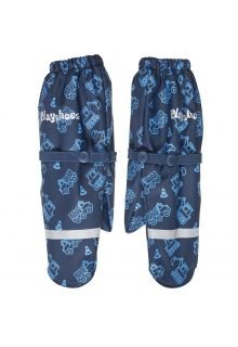 Playshoes---Rain-gloves-with-fleece-lining-for-boys---Construction-site---Navy