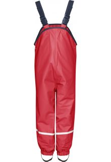 Playshoes---Rain-Bib-Trousers-with-Fleece-lining---Red
