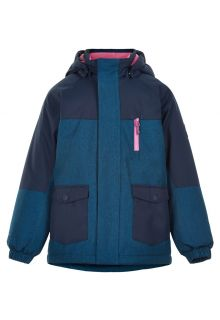 Color-Kids---Parka-jacket-for-girls---Melange---Dark-blue