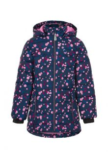 Color-Kids---Winter-jacket-for-girls---Quilted-AOP---Dark-blue