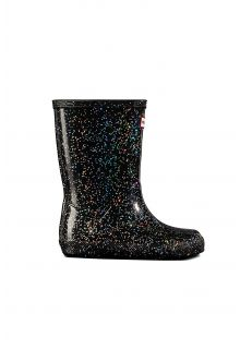 Hunter---Rainboots-for-girls---Original-Kids-First-Classic-Glitter---Black