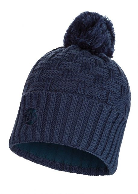 Buff---Knitted-Polar-Solid-Hat-Airon-with-pompom-for-adults--Darkdenim