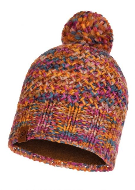 Buff---Knitted-Polar-Hat-Margo-with-pompom-for-adults---Orange
