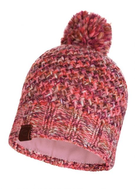 Buff---Knitted-Polar-Hat-Margo-with-pompom-for-adults---Flamingo-Pink