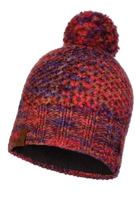 Buff---Knitted-Polar-Hat-Margo-with-pompom-for-adults---Maroon