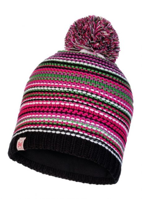 Buff---Knitted-Polar-Hat-Amity-with-pompom-for-children---Pink/Multi