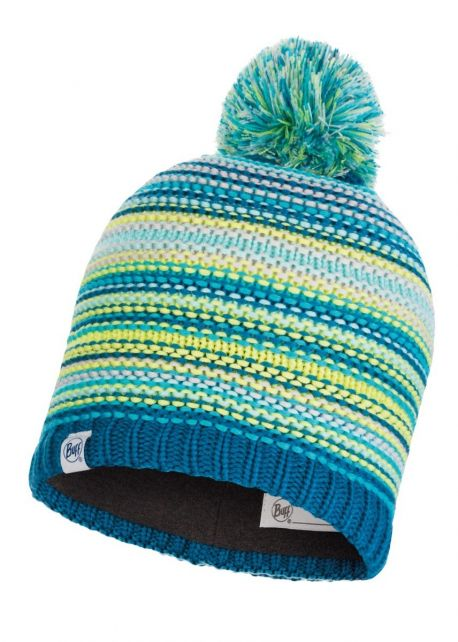 Buff---Knitted-Polar-Hat-Amity-with-pompom-for-children---Turquoise/Multi