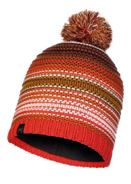 Buff---Knitted-Polar-Hat-Neper-with-pompom-for-adults---Maroon/Orange