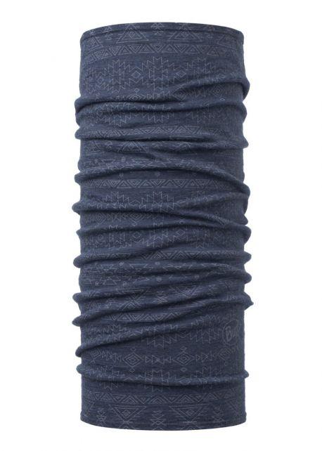Buff---Lightweight-Merino-Tube-scarf-Edgy-for-adults---Denim-Bleu