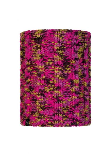 Buff---Knitted-Polar-Tube-scarf-Livy-for-adults---Magenta/Multi