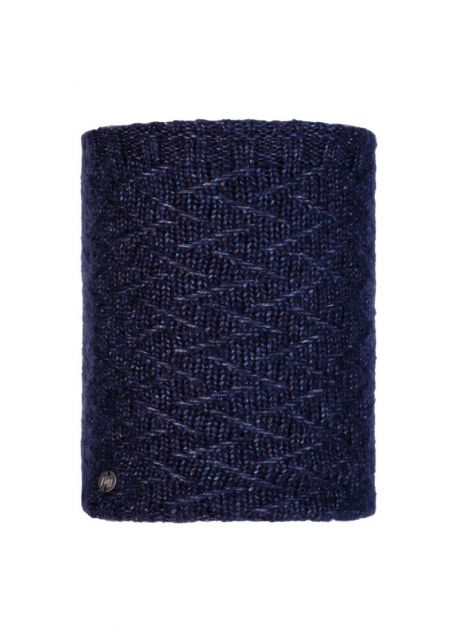 Buff---Knitted-Polar-Tube-scarf-Ebba-for-adults---Nightblue