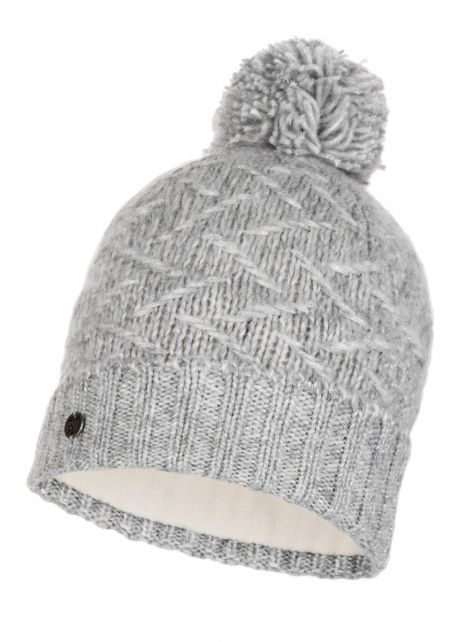 Buff---Knitted-Polar-Hat-Ebba-with-pompom-for-adults---Grey