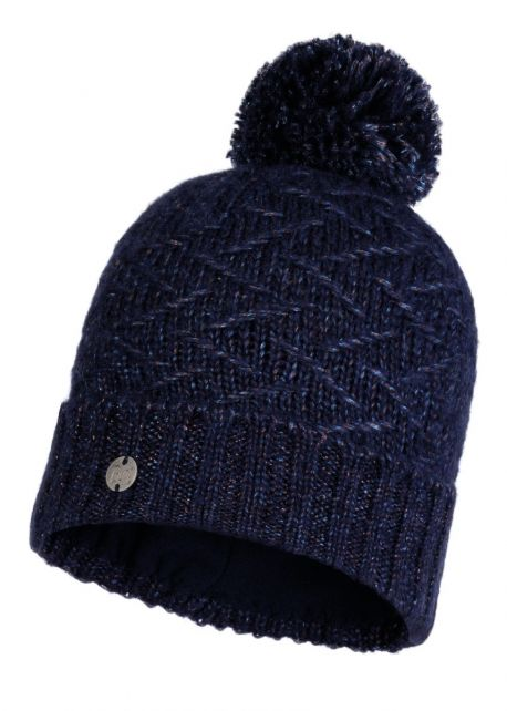 Buff---Knitted-Polar-Hat-Ebba-with-pompom-for-adults---Nightblue