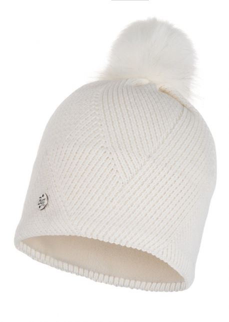 Buff---Knitted-Polar-Hat-Disa-with-pompom-for-adults---White