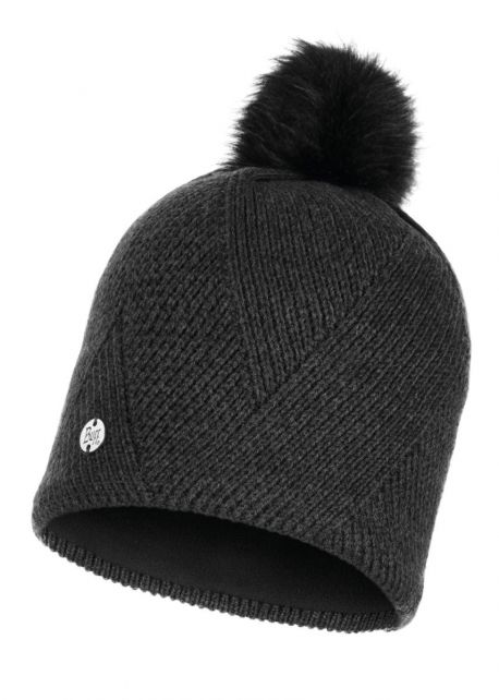 Buff---Knitted-Polar-Hat-Disa-with-pompom-for-adults---Black