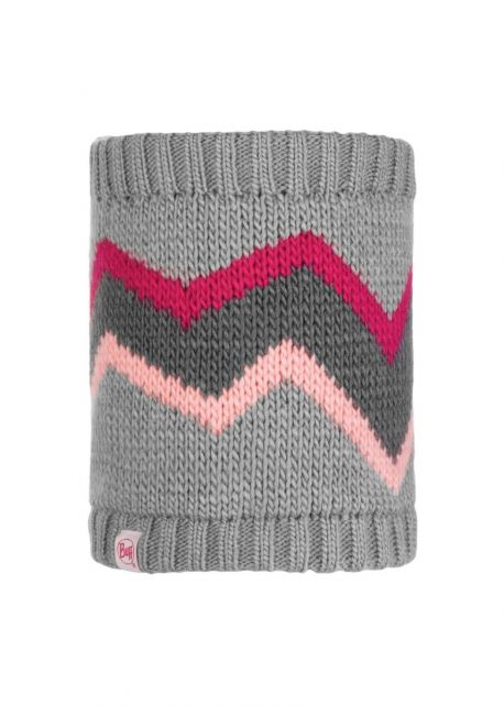 Buff---Knitted-Polar-Tube-scarf-Arild-for-children---Grey/Pink