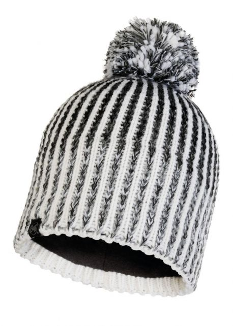 Buff---Knitted-Polar-Hat-Iver-with-pompom-for-adults---White/Grey