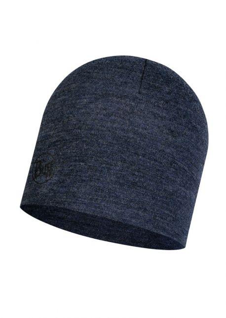 Buff---Midweight-Merino-Wool-Hat-Melange-for-adults---Nightblue