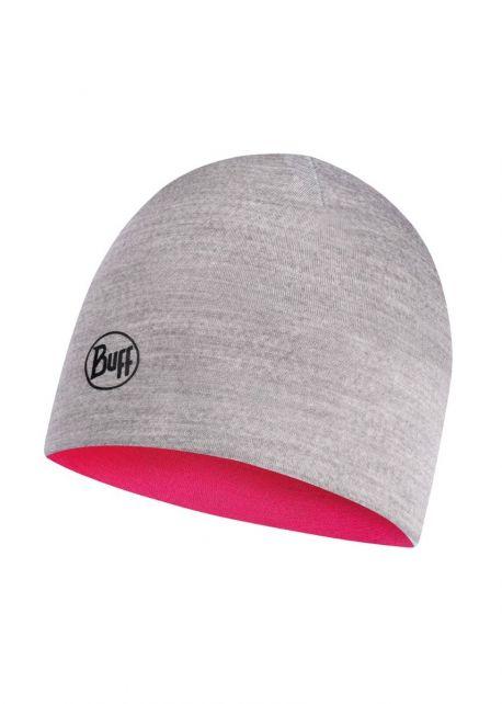 Buff---Reversible-lightweight-Merino-Hat-for-children---Pink/Grey