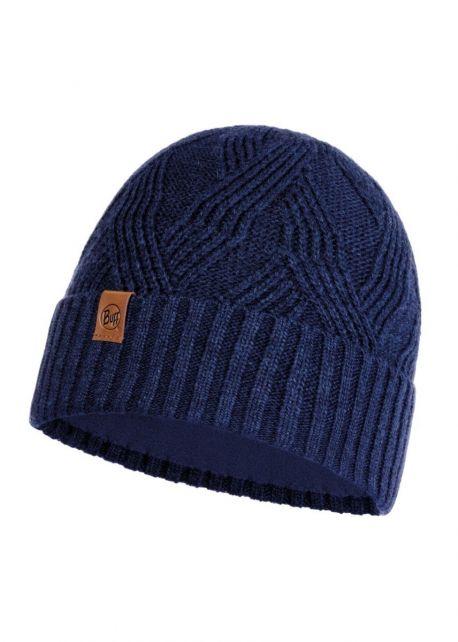 Buff---Knitted-Polar-Hat-Artur-for-adults---Nightblue