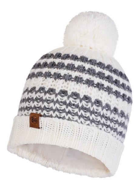 Buff---Knitted-Polar-Hat-Kostik-with-pompom-for-adults---White/Grey