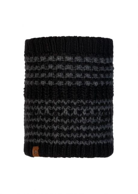 Buff---Knitted-Polar-Tube-scarf-Kostik-for-adults---Black/Grey