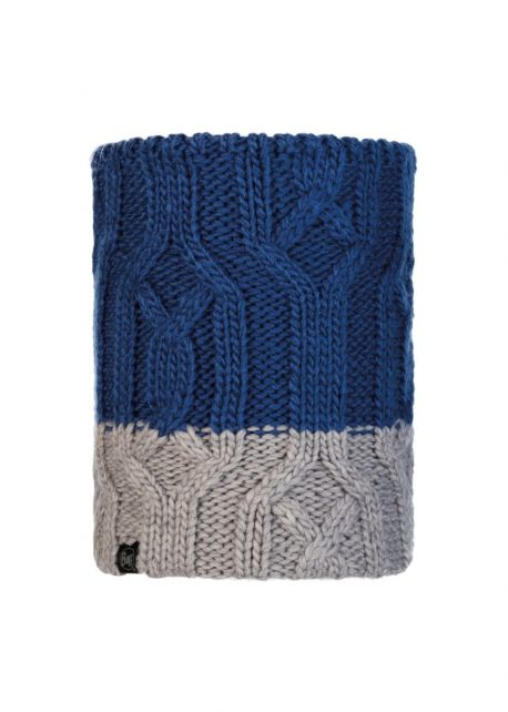 Buff---Knitted-Polar-Tube-scarf-Ganbat-for-children---Blue/Grey