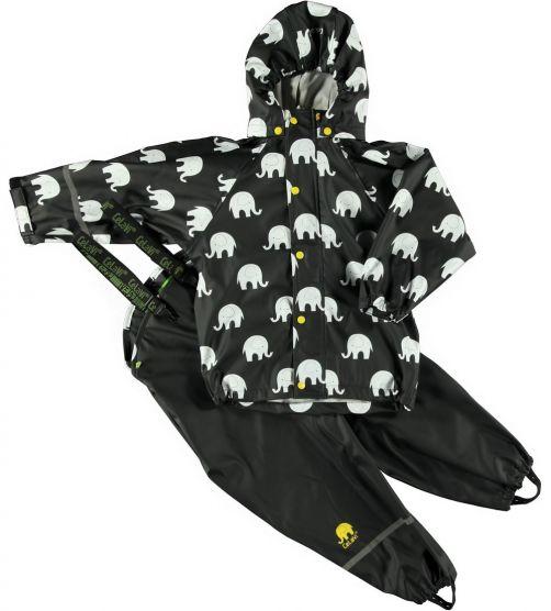 CeLaVi---Rainwear-suit-with-Elefant-print-for-kids---Mineral-Yellow