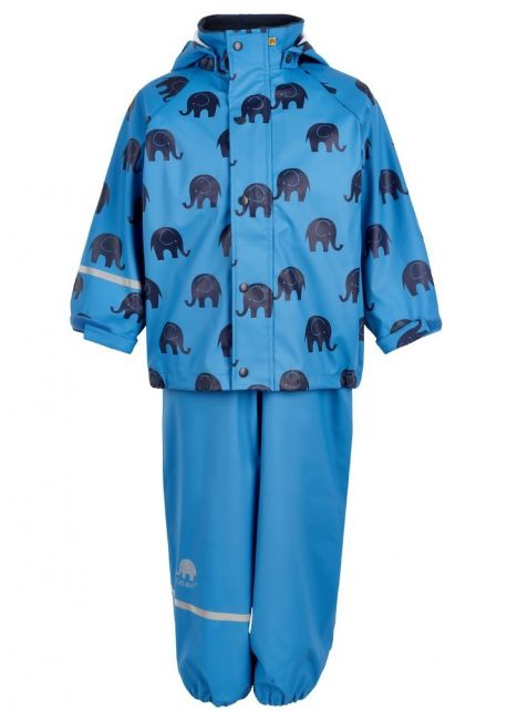 CeLaVi---Rainwear-suit-with-Elefant-print-for-kids---Blue