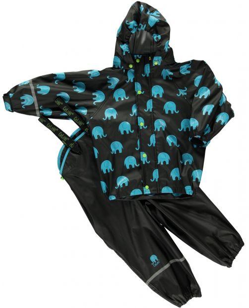 CeLaVi---Rainwear-suit-with-Elefant-print-for-kids---Black
