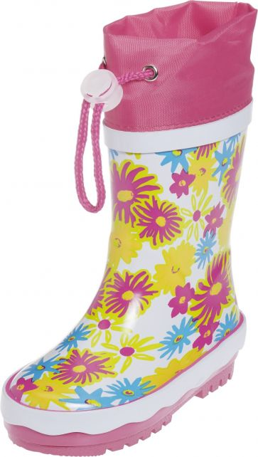 Playshoes---Rubber-Boots-Flower-Print---White