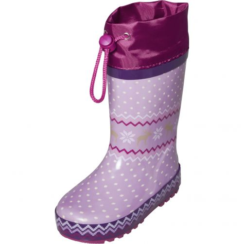 Playshoes---Rainboots-with-drawstring-for-kids---Norwegian-Theme---Purple