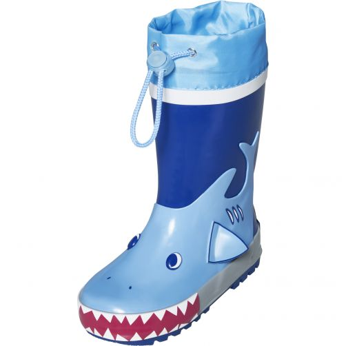 Playshoes---Rainboots-with-drawstring-for-kids---Shark--Blue