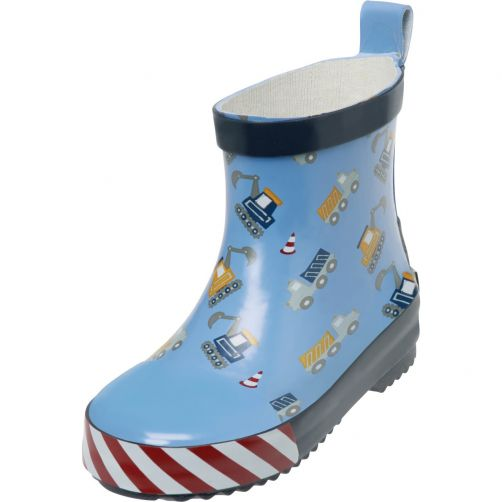 Playshoes---Rubber-boots-with-half-shaft-for-boys---Construction-site---Blue