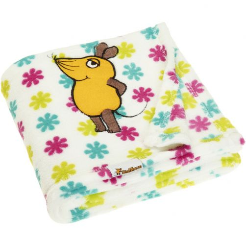Playshoes---Fleece-blanket-for-kids-75x100cm---Mouse-with-flowers---White/pink