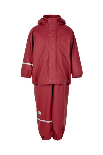CeLaVi---Rainwear-set-with-fleece-for-kids---Bib-or-elastic-waist---Dark-red