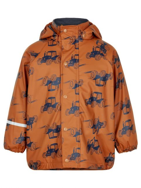 CeLaVi---Rain-jacket-with-fleece-for-boys---Tractors---Pumpkin