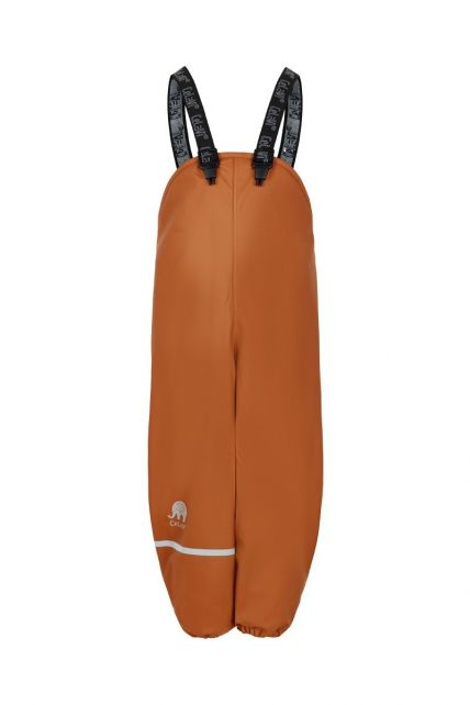 CeLaVi---Rain-pants-with-fleece-for-kids---Bib-or-elastic-waist---Pumpkin
