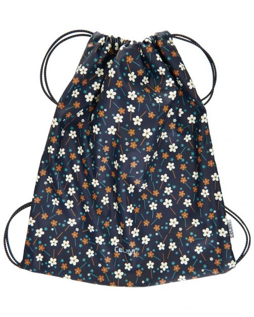 CeLaVi---Water-resistant-drawstring-bag---Flowers---Dark-blue-