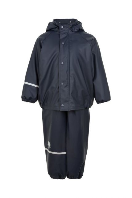 CeLaVi---Rainwear-set-with-fleece-for-kids---Bib-or-elastic-waist---Dark-blue