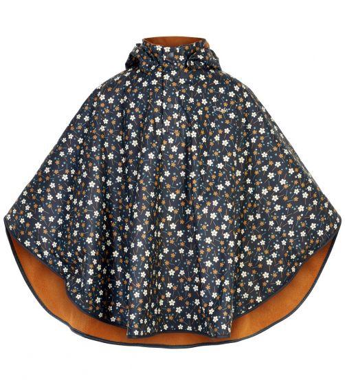CeLaVi---Raincape-with-fleece-for-girls---Flowers---Dark-blue